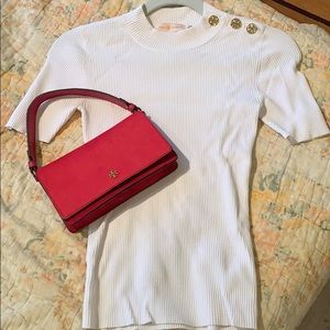Tory Burch ✨ Ribbed White Button Shoulder Tee NWOT